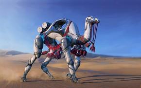 Картинка фантастика, арт, верблюд, illustrator, Jakub Bazyluk, W.A.R.P. Sand Walker