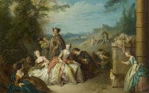 Картинка люди, масло, картина, холст, Галантная Компания в Пейзаже, Патер Жан-Батист