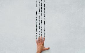 Обои стена, рука, след
