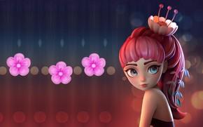 Обои Alina Makarenko, Flower Girl | Speed Polypaint, цветочек, весна, арт