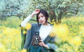 Картинка природа, рука, фотоаппарат, азиатка, милашка