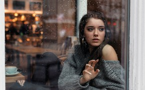 Картинка girl, rain, long hair, photo, blue eyes, model, mood, water drops, bokeh, window, lips, jeans, ...