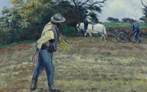 Картинка поле, картина, жанровая, Камиль Писсарро, Сеятель и Пахарь. Монфуко