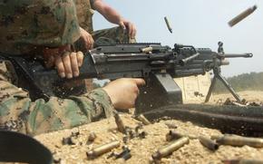 Обои soldier, USMC, light machine gun, M249 SAW