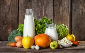 Обои кувшин, яблоки, еда, wood, натюрморт, яйца, творог, молоко, овощи, сливки, бутылка