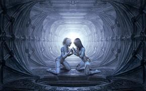 Картинка свет, пространство, будущее, рендеринг, серый, фон, люди, фантастика, девушки, голубой, две, человек, технологии, тату, арт, ...
