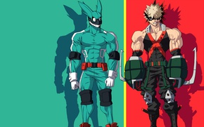 Обои anime, red, My Hero Academia, hero, grenade, powerful, enemy, Boku no Hero Academia, rabbit, green, ...