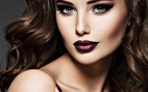 Картинка девушка, волосы, портрет, макияж, прическа, локоны