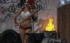 Картинка девушка, бита, сумашедшая