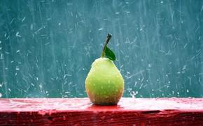 Картинка макро, дождь, груша