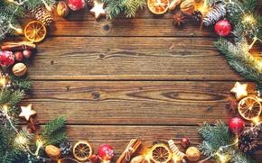 Обои Рождество, Новый год, апельсин, бадьян, гирлянды, дерево, еловые ветки, грецкие орехи, палочки корицы, печенье, шишки, ...