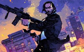 Картинка city, cinema, gun, pistol, weapon, night, man, movie, film, rifle, Keanu Reeves, powerful, strong, John …