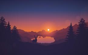Обои Закат, Солнце, Вечер, Горы, Игра, Озеро, Лес, Вид, Холмы, Олень, Пейзаж, Арт, Campo Santo, Firewatch, ...