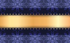 Картинка цветы, узор, вектор, орнамент, золотая лента, фиалковый