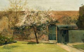 Картинка пейзаж, картина, двор, импрессионизм, Чарльз Кондер, Charles Conder, Цветение. Шантмель
