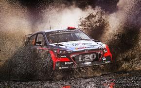Обои Авто, Спорт, Машина, Гонка, Грязь, Брызги, Hyundai, Автомобиль, WRC, Rally, Ралли, i20, Hyundai i20, Hyundai ...