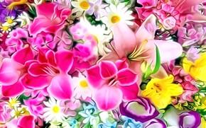 Картинка цветы, рендеринг, рисунок, букет, лепестки, картинка, цветочное ассорти