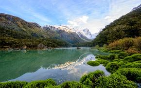Картинка деревья, горы, озеро, камни, Новая Зеландия, ущелье, Lake Mackenzie