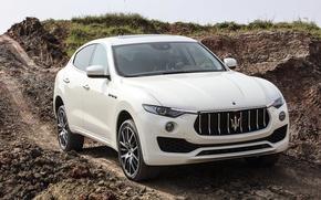 Картинка дорога, земля, Maserati, белая, рельеф, Kubang