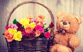 Картинка цветы, подарок, корзина, розы, букет, мишка, love, flowers, romantic, gift, teddy bear, roses