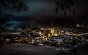 Картинка зима, ночь, огни, Австрия, церковь, Эльмау