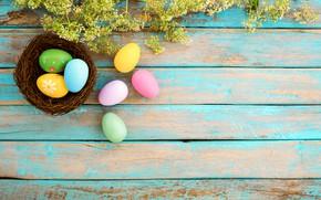 Картинка цветы, корзина, яйца, весна, colorful, Пасха, wood, pink, flowers, spring, Easter, eggs, decoration, Happy, tender