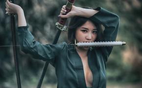 Картинка взгляд, лицо, катана, азиатка, мечи