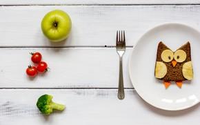 Картинка яблоко, хлеб, вилка, помидор