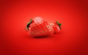 Картинка ягоды, клубника, красный фон