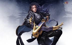 Картинка оружие, игра, воин, арт, арбалет, 暮 山 飞 雀 °, Джиан Ванг, Тибетский меч