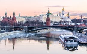 Картинка зима, река, Москва, Кремль, Russia, Moscow, Kremlin