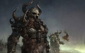 Обои fantasy, armor, bird, digital art, artwork, warrior, fantasy art, helmet, Barbarian, beard, horn, bird of ...