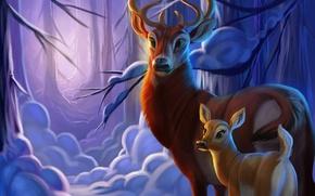 Картинка зима, лес, снег, олень, олененок, by TehChan