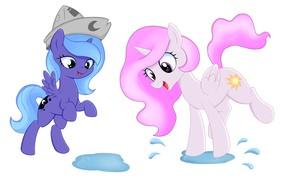 Картинка лето, брызги, игра, мультфильм, вектор, лужа, арт, детская, My Little Pony, Литл Пони