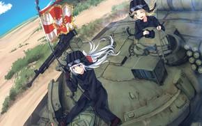 Картинка gun, weapon, war, anime, flag, tank, japanese, machine gun, bishojo, coat of arms, Girls Frontline