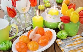 Картинка цветы, корзина, весна, свечи, Пасха, тюльпаны, happy, flowers, tulips, spring, Easter, eggs, bunny, delicate, decoration, …