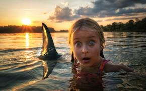 Обои акула, девочка, End of story