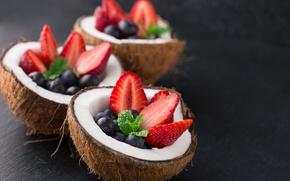 Картинка ягоды, еда, кокос, завтрак, черника, клубника, фрукты