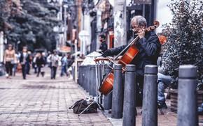 Обои chello, music, street