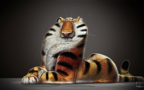Обои jb vendamme, рендер, tiger, арт, рисунок, тигр
