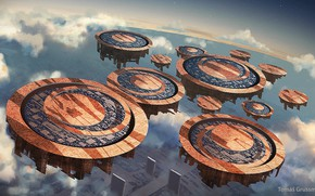 Картинка планета, объект, платформа, Floathing city