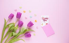 Картинка цветы, подарок, букет, сердечки, тюльпаны, love, fresh, I love you, flowers, romantic, hearts, tulips, spring, …
