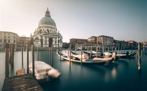 Картинка Италия, церковь, Венеция, канал, гондолы