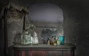 Картинка фон, зеркало, банки