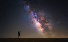 Обои звезды, космос, звезда, небо, млечный путь, ночь, девушка