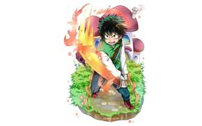 Картинка меч, парень, Boku no Hero Academia, Мидория Изуку