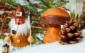 Обои фигурка, гриб, снег, Рождественский мотив, шишка