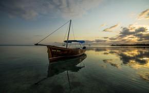 Обои море, лодка, Маврикий, Индийский океан, облака