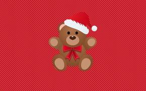 Картинка Минимализм, Новый Год, Мишка, Рождество, Медведь, Фон, Праздник, Настроение