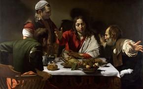 Картинка картина, Ужин в Эммаусе, мифология, Микеланджело Меризи да Караваджо
